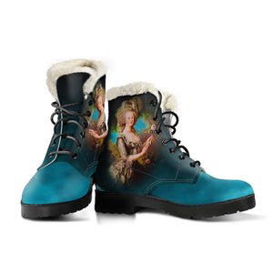 Front and side views of Marie Antoinette blue cameo faux fur lined winter boot Vegan friendly