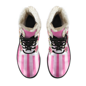 Top view of Pompadour floral pink stripe faux fur lined winter boot
