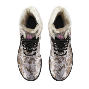 top view Pompadour Pink Feathers Faux Fur Lined Winter Boots
