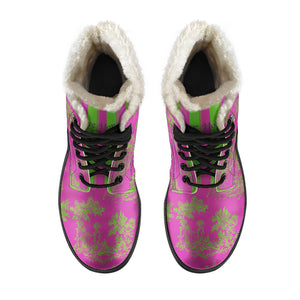 top view of Toile de Jouy Pink Lime Faux Fur Lined Winter Boots