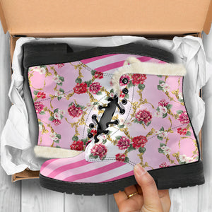 Pompadour floral pink stripe faux fur lined winter boot in box