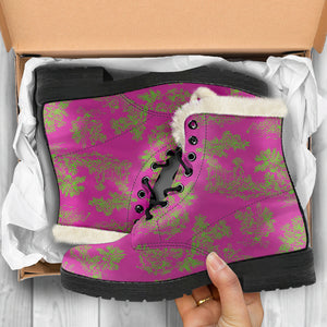 Toile de Jouy Pink Lime Faux Fur Lined Winter Boots in box