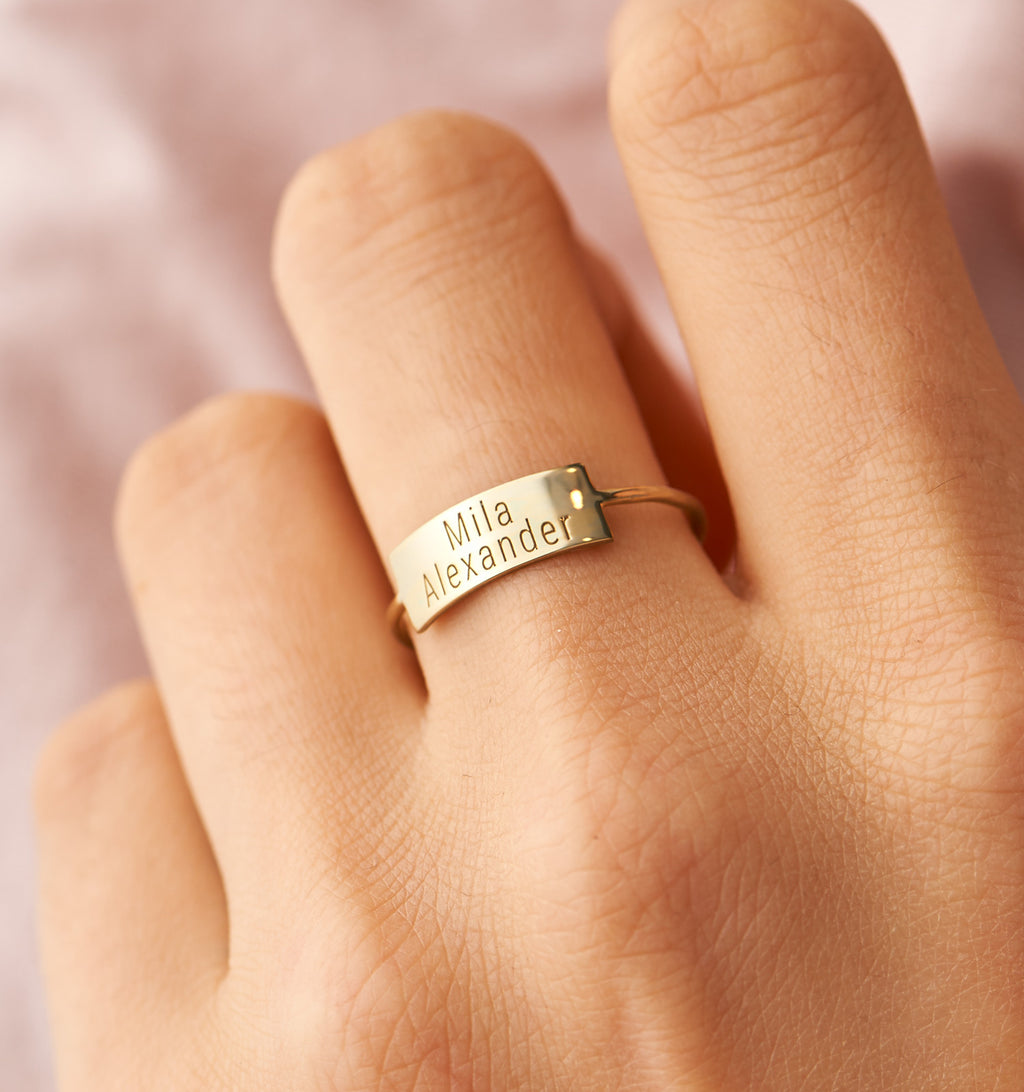 Large Personalized Bar Ring