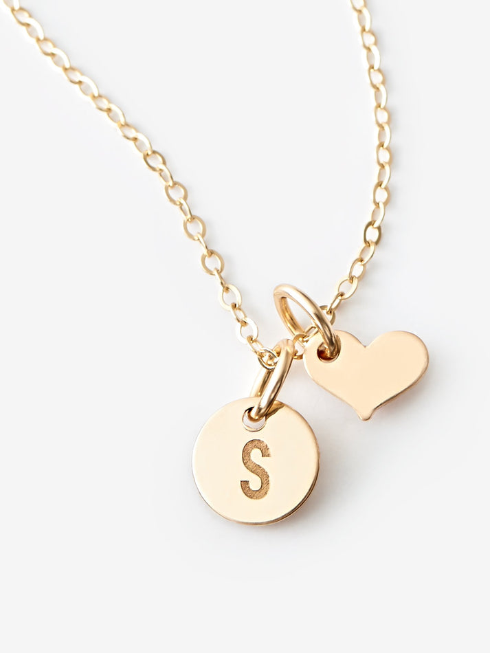 Mini Disk Necklace With Heart