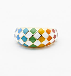 True Rainbow Checker Ring