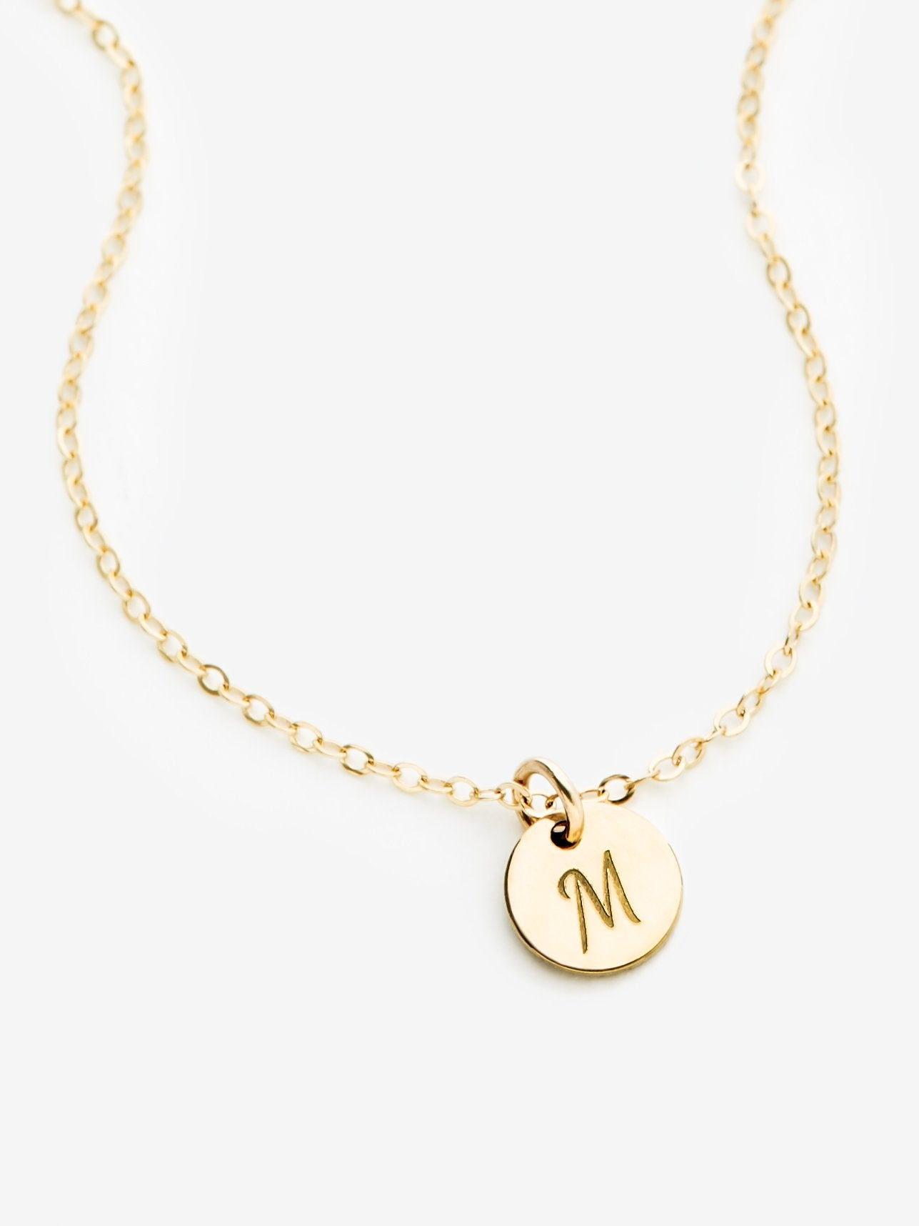 Mini Initial Disk Necklace