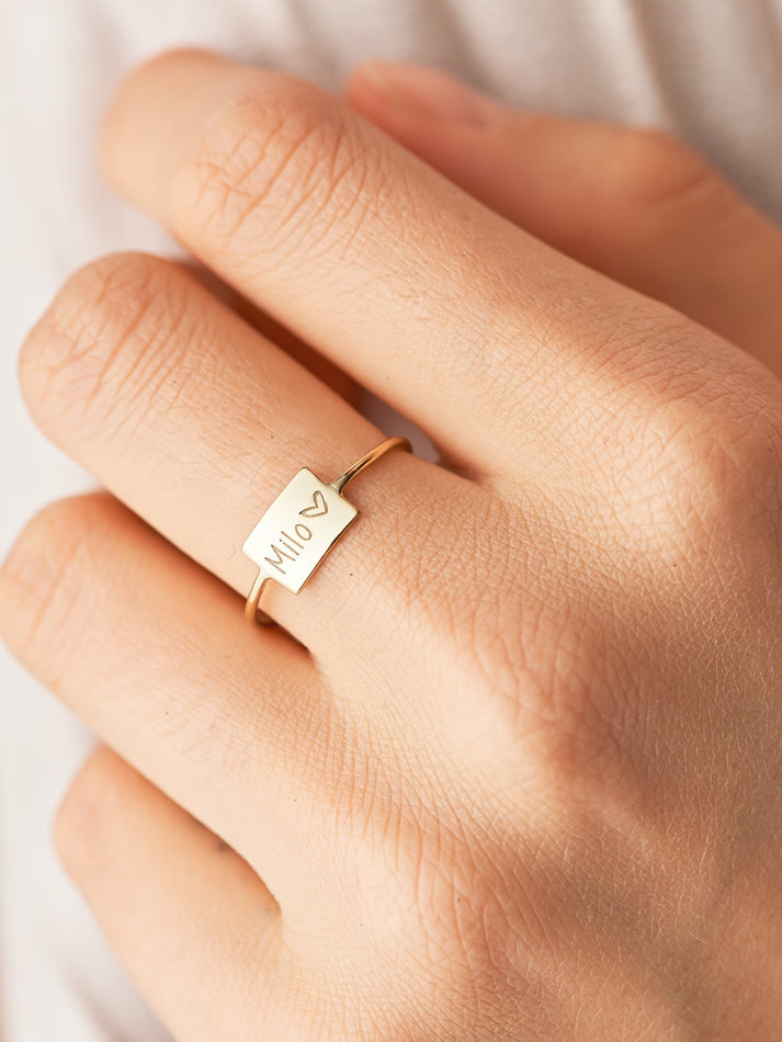 Rectangle Name Ring