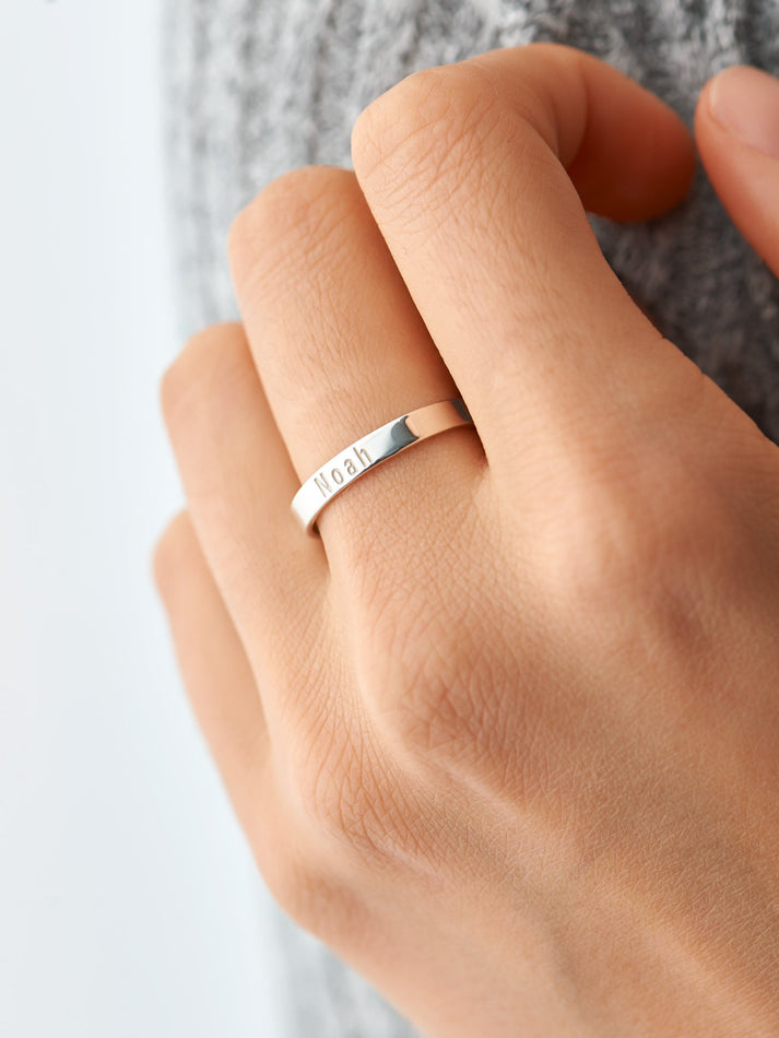 Skinny Personalized Band Ring