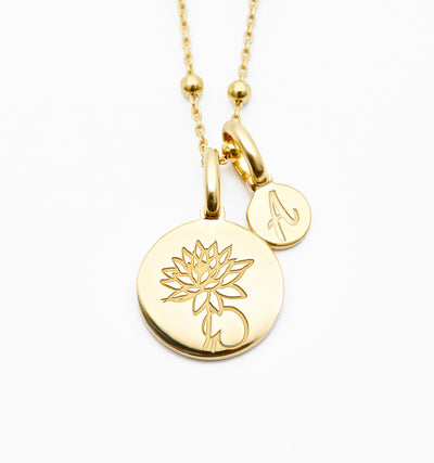 Dainty Lotus Necklace - July Flower