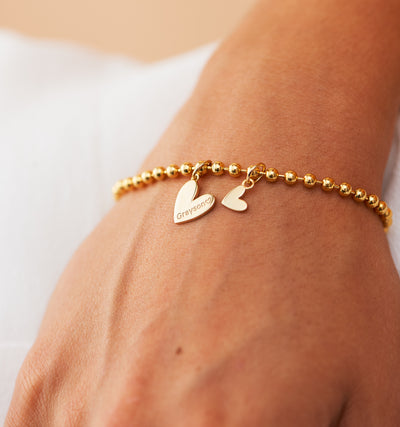 Double Heart Bracelet With Bead Chain
