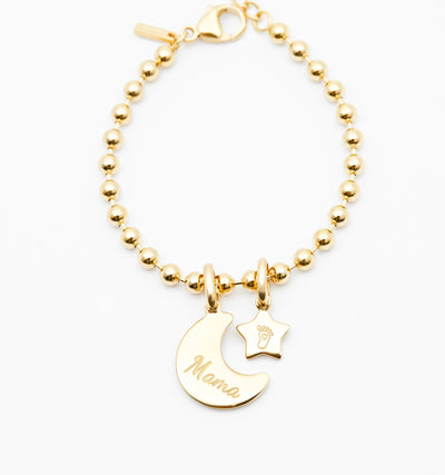 Engraved Moon & Star Bracelet