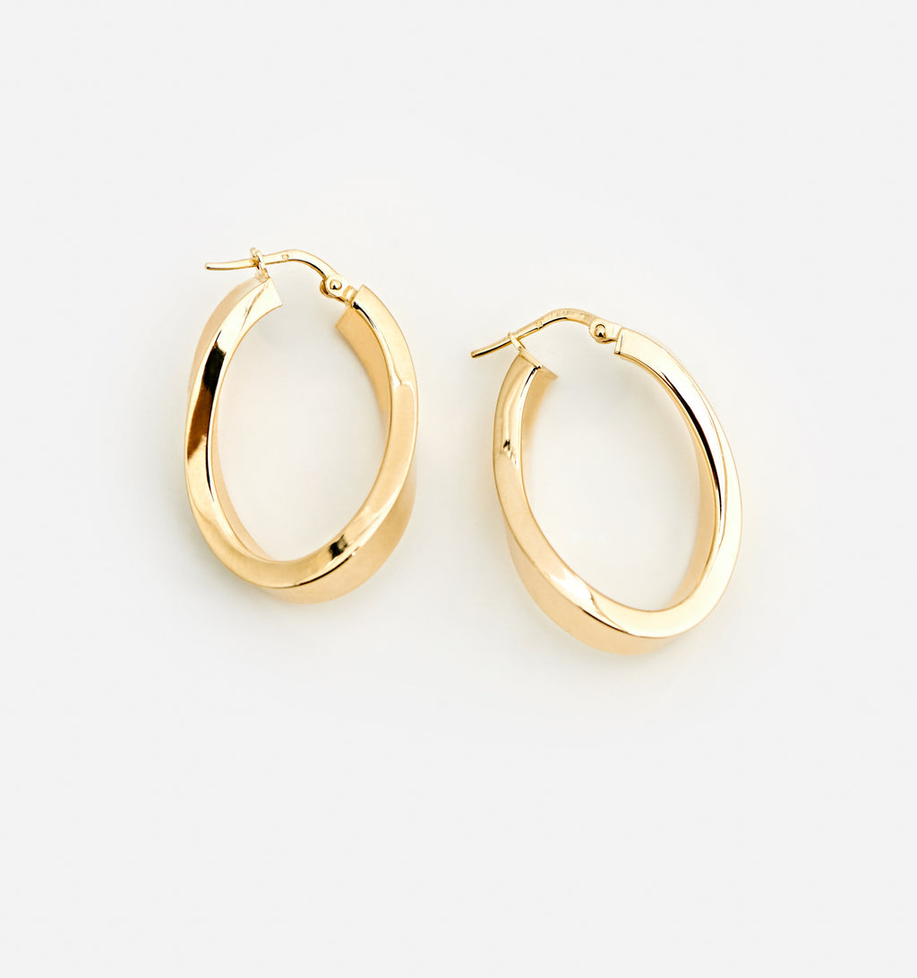 Oval Twist Hoops - Medium