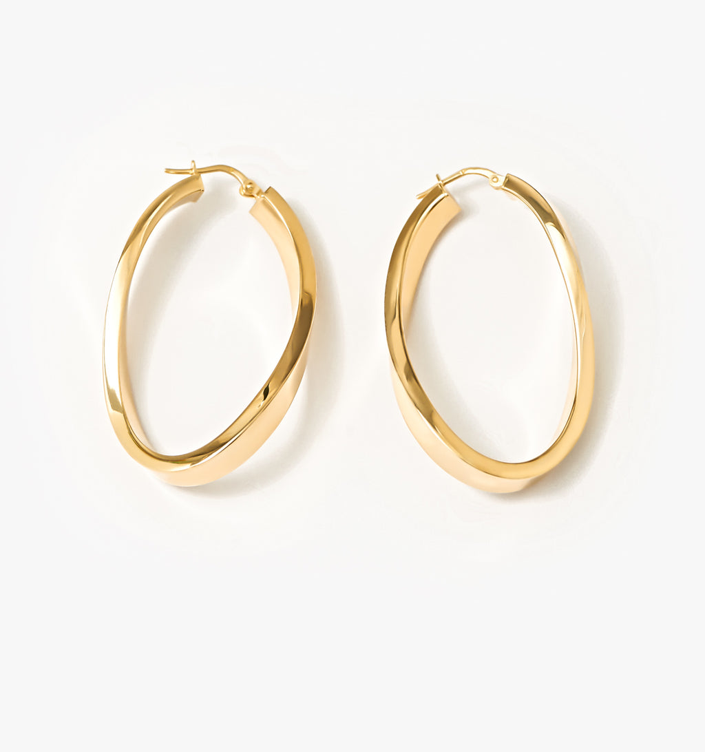 Oval Twist Hoops - Large
