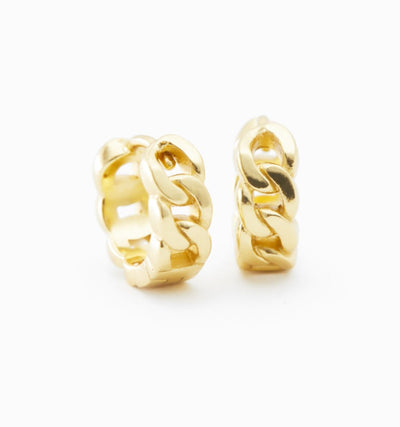 Cuban Chain Huggie Earrings