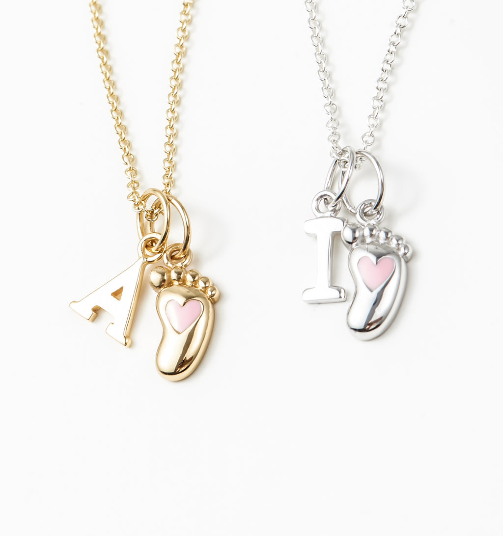 Pink Baby Foot Necklace + Letter Charm
