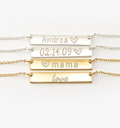 Small Bar Name Necklace