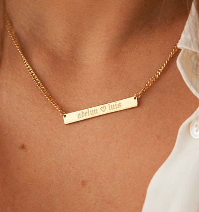 Cuban Link Bar Necklace