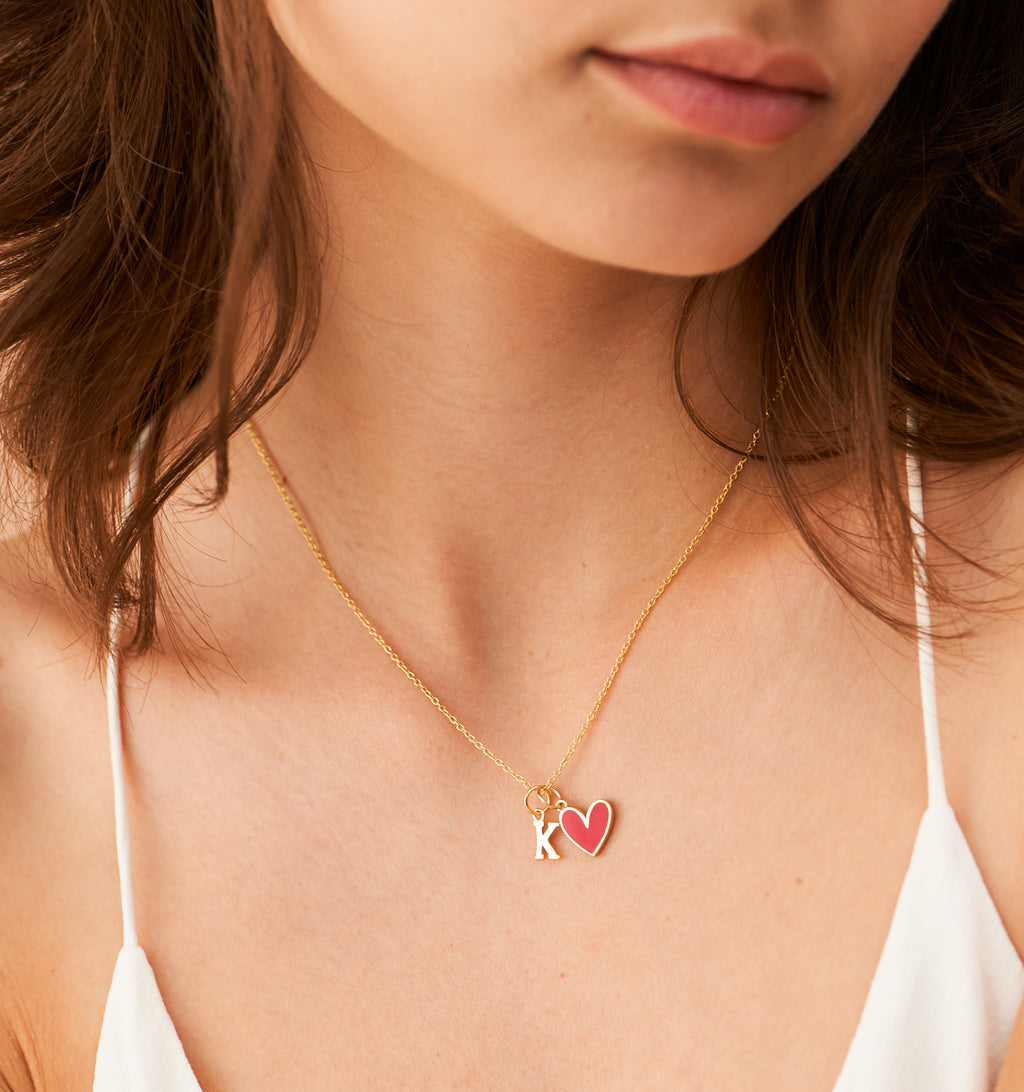 Enamel Heart Necklace + Letter Charm