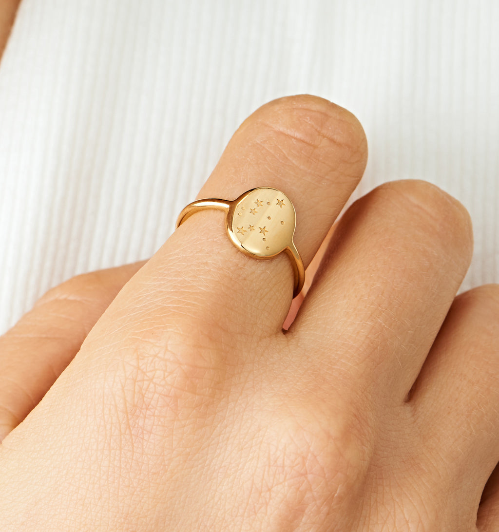 Aquarius Zodiac Signet Ring