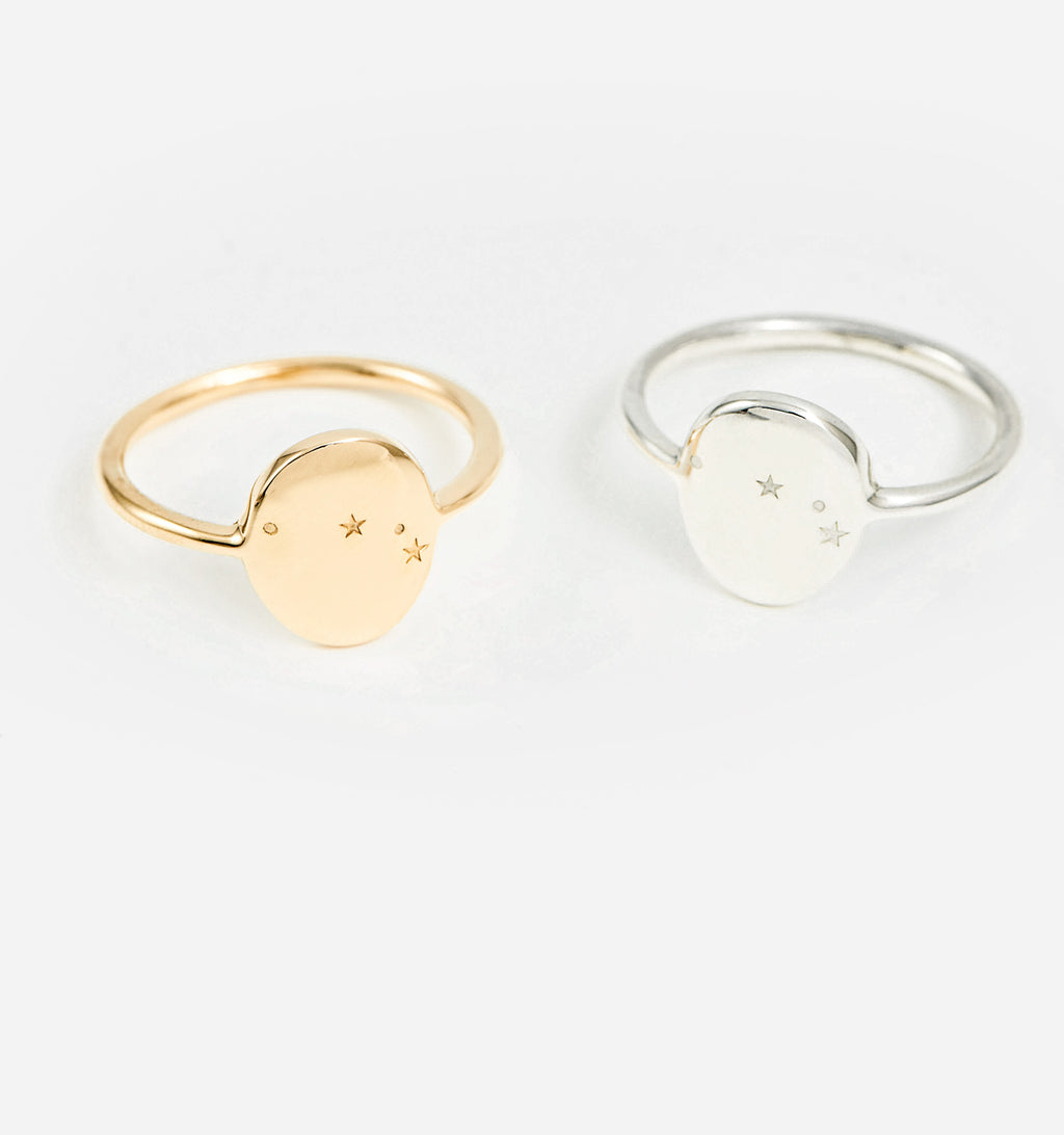 Aries Zodiac Signet Ring