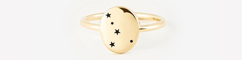 Cancer Zodiac Signet Ring