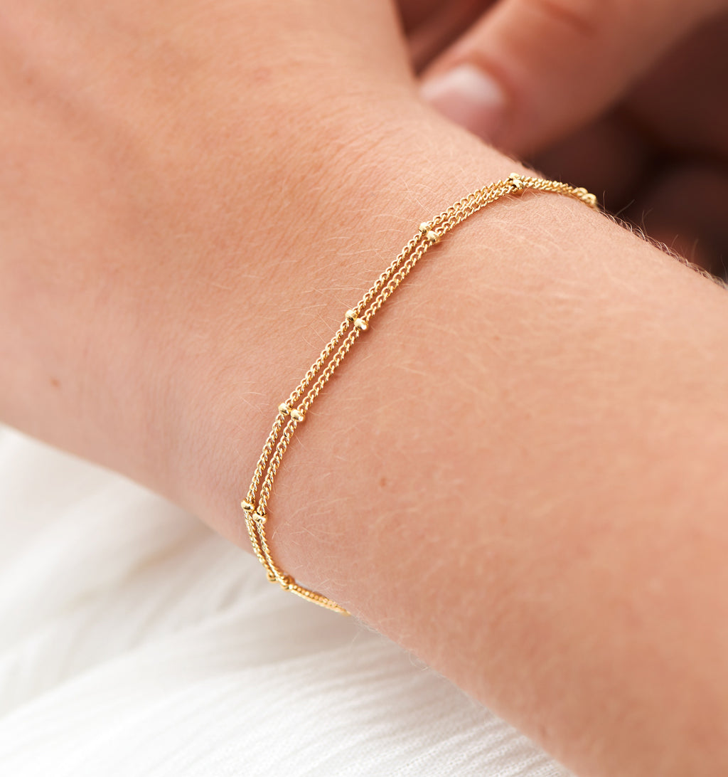 Layered Saturn Chain Bracelet