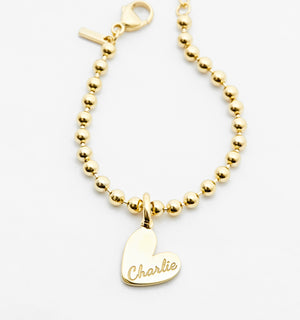 Small Heart Bracelet With Bead Chain