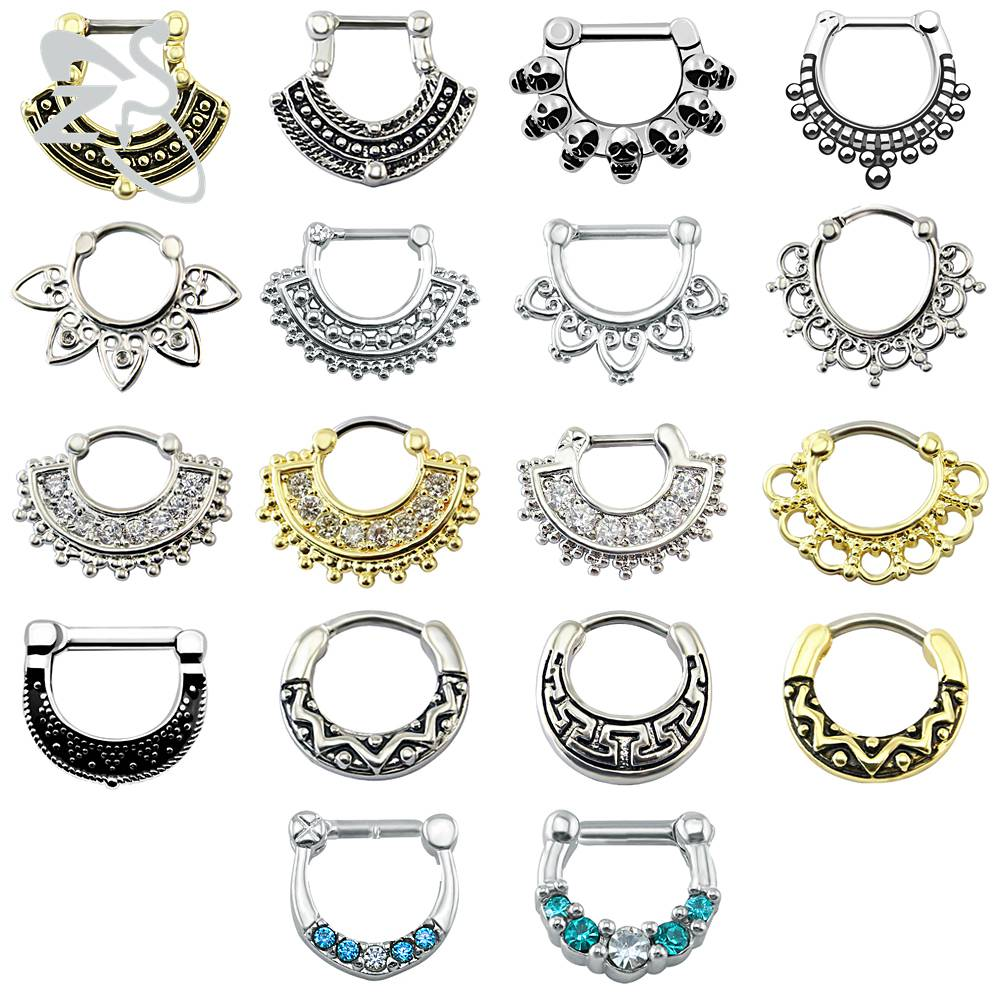 New Hot Indian Nose Piercing Septum Clicker Real Clip Rings Piercing Jewelry Sep