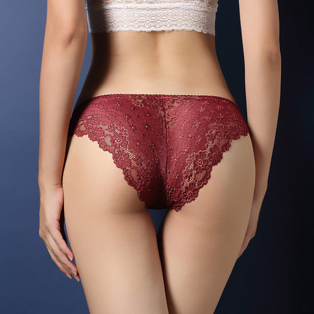 5be7421b084 Women Underwear Sexy Lace Transparent Low Waist Hollow T Back Panties Lady  Brief
