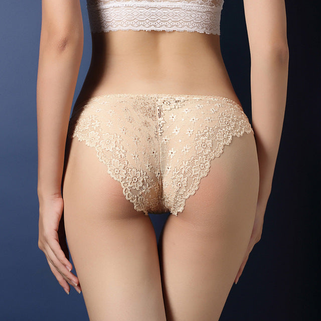 664966087293 Women Underwear Sexy Lace Transparent Low Waist Hollow T Back Panties Lady  Brief