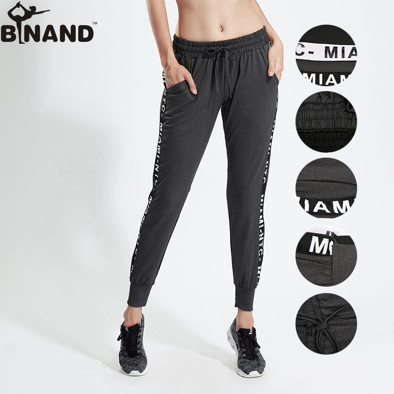 848a7ae16 Women Letter Printed Stretch Drawstring Yoga Leggings Elastic Exercise  Trousers Loose Breathable Gym Fitness Yoga Pants