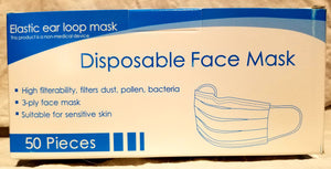 Non-Medical 3 ply Disposable Face Masks- 50 masks - CanOps
