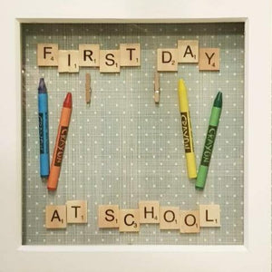 First Day At School Scrabble Frame Polkadots
