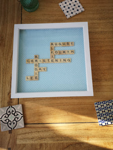 Sky Blue Polka Dots Family Scrabble Frame
