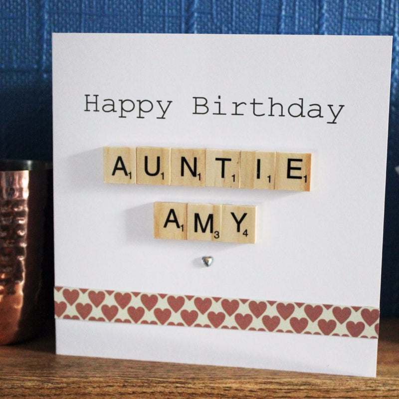 Personalised Birthday Scrabble Card White Penguin