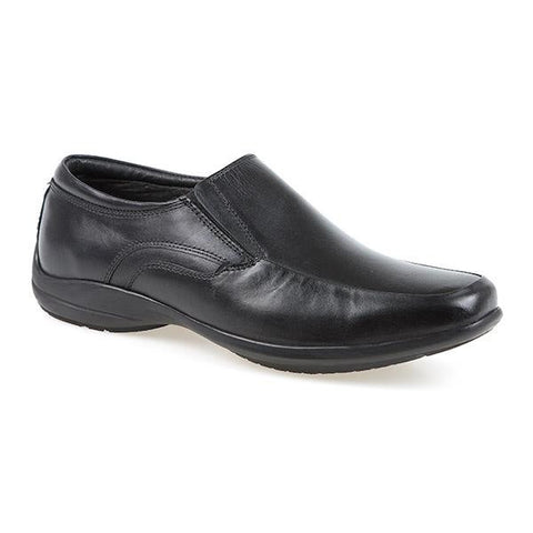 Black Wide Fit Leather Slip On Shoes
