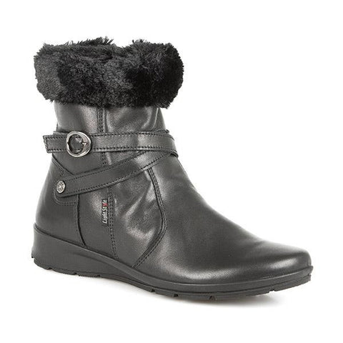Black Leather Ankle Boot with Faux Fur Trim