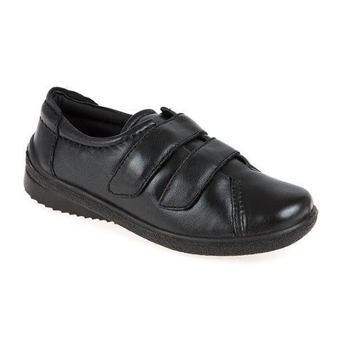 Black Extra Wide Leather Shoe with One Touch Tabs