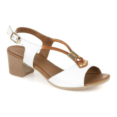White-Tan Leather Slingback Sandal