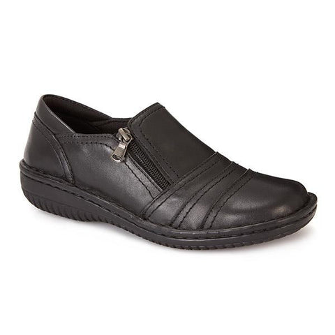 Black Wide Fit Leather Slip On Shoes for Women