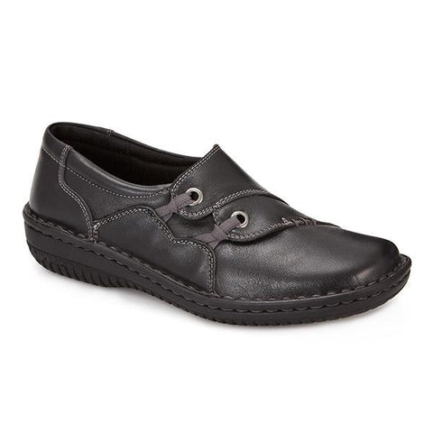 Black Leather Slip On Shoe with Elastic Loop Detail