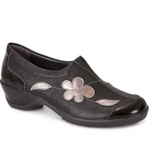 Black Multi Wide Fit Leather Slip On Shoe