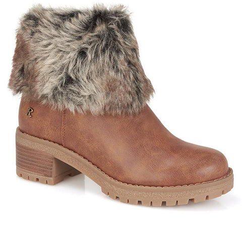 Camel Heeled Ankle Boot