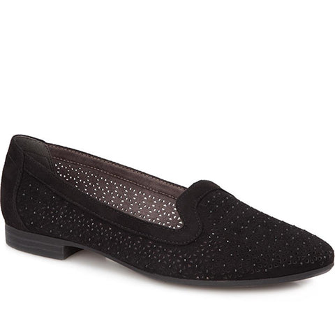Black Wide Fit Embellished Loafer