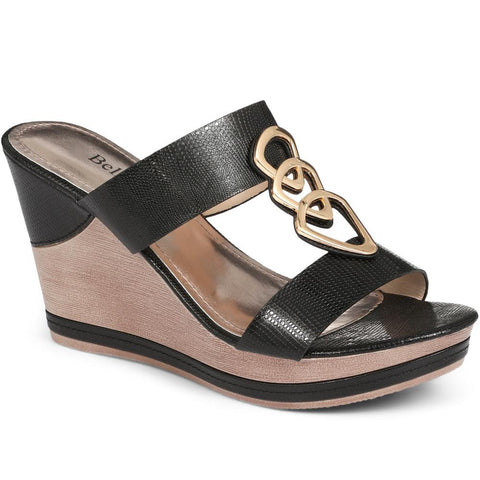 Black Wedge Heel Sandal