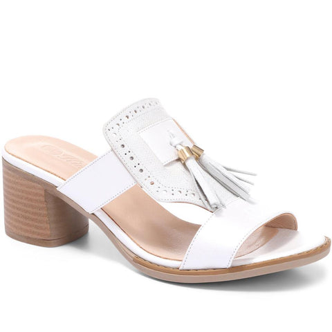 White-Silver Leather Mule Sandal