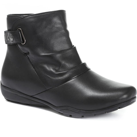 Black Touch Fastening Leather Ankle Boot
