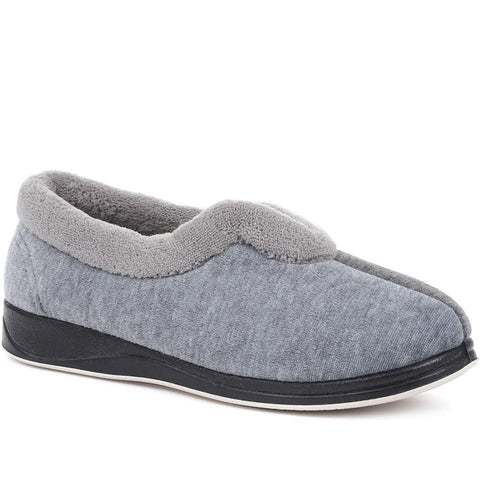 Grey Wide Fit Ladies Full Slippers