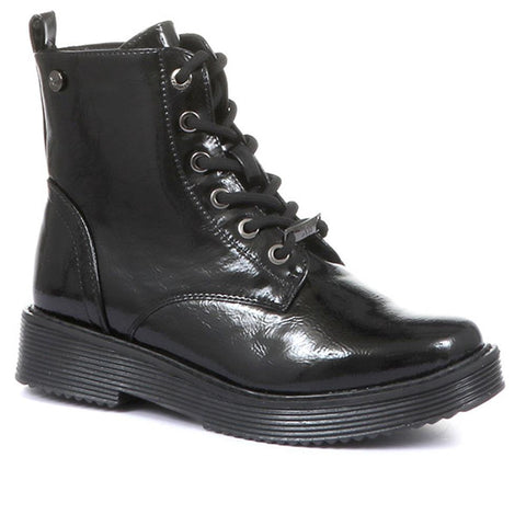 Black Patent High Shine Lace-Up Ankle Boots