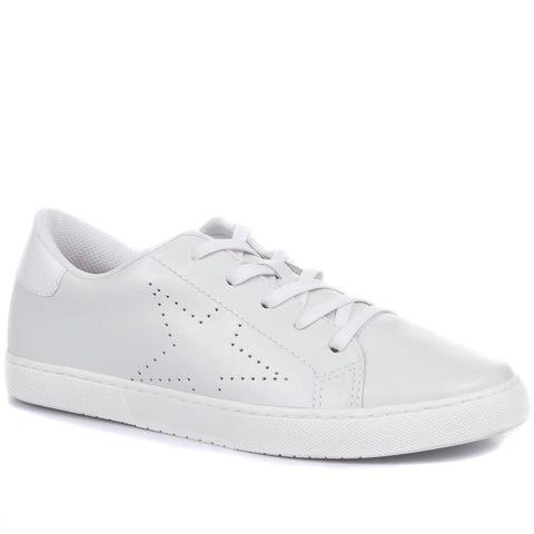 White Leather Lace-Up Ladies Trainers